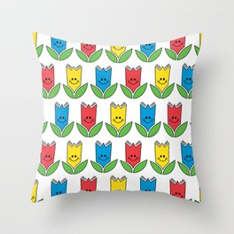 Flowers Of Primary Colors - Fleurs Aux Couleurs Primaires Throw Pillow