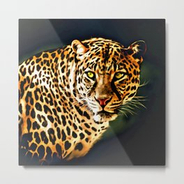 Leopard Digital Painting Metal Print