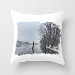 Snowy Rock River Throw Pillow