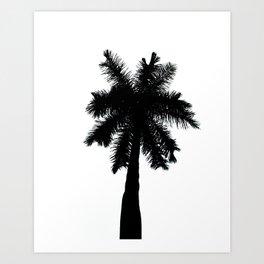 Palm Tree Silhouette on Pure White Nature / Botanical Photo #tropical #decor #art #society6 Art Print
