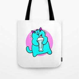 Retro Chibi Kawaii Milkshake Kitten by Kayleel Tote Bag