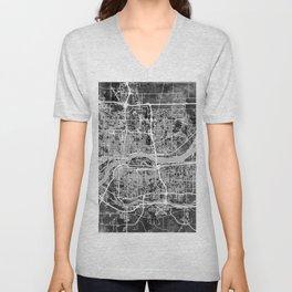 Quad Cities Street Map Unisex V-Neck