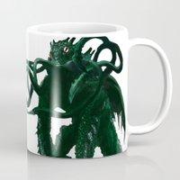 cthulhu Mugs featuring Cthulhu  by Brett Fitzpatrick