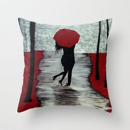 Red Autumn Rain Romance Throw Pillow