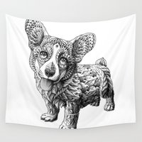 puppy Wall Tapestries featuring Corgi Puppy by BIOWORKZ