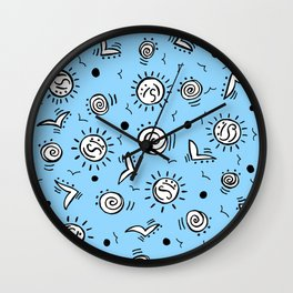 Doodle Drawing Seagulls Shells Sun - Blue Background Wall Clock
