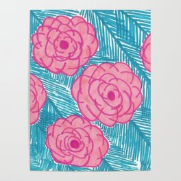 Tropical Palm Leaves and Roses Print Poster