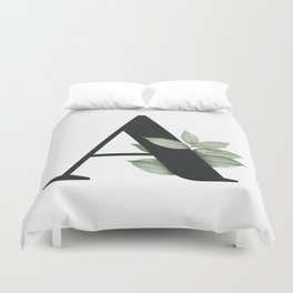 Letter A Initial Floral Monogram Black And White Poster Duvet Cover