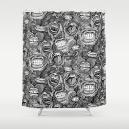BITE ME roses and orchids BLACK WHITE Shower Curtain