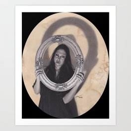 Realism Charcoal Drawing of Beautiful Woman with Antique Frame Art Print