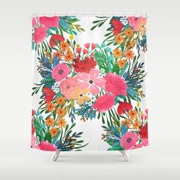 Trendy Pink watercolor Floral Bouquet White Design Shower Curtain