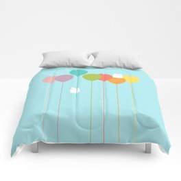 Fluffy bunnies and the rainbow balloons Comforters
