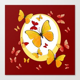 RED & YELLOW BUTTERFLIES &  YELLOW RING BURGUNDY ABSTRACT ART Canvas Print