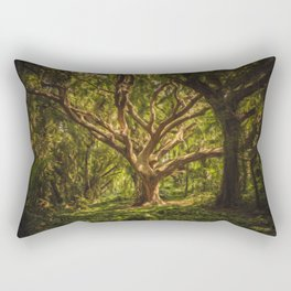 Tree In Forest Oil Painting Rectangular Pillow