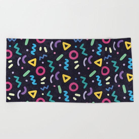Black Memphis Pattern Beach Towel
