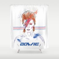 bowie Shower Curtains featuring Bowie by Usagi Por Moi