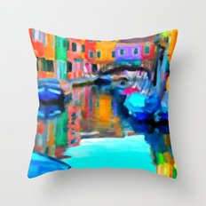 Colors In Venice - Painting Style Throw Pillow