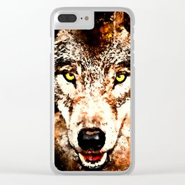 wolf threatening stare ws Clear iPhone Case