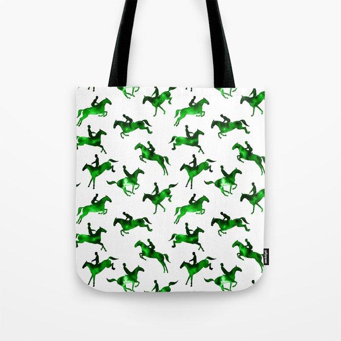 Watercolor Showjumping Horses (Green) Tote Bag