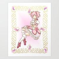 madoka Art Prints featuring Madoka Kaname by Rastea