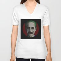 jared leto V-neck T-shirts featuring JARED LETO by zinakorotkova