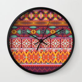 Seamless colorful aztec carpet with birds,flowers and arrow Wall Clock