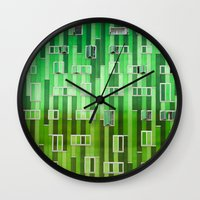 green pattern Wall Clocks featuring Green Pattern by Maria Eugenia Espino