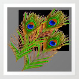 MODERN ART GREEN-BLUE PEACOCK FEATHER PATTERN Art Print