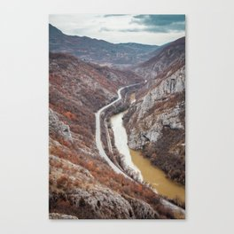 Beautiful picture of the canyon in Serbia. Dramatic sky and mountains Canvas Print