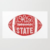 ohio state Area & Throw Rugs featuring Ohio State Football by Kasi Turpin