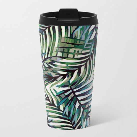 Palm Leaves Abstract Metal Travel Mug