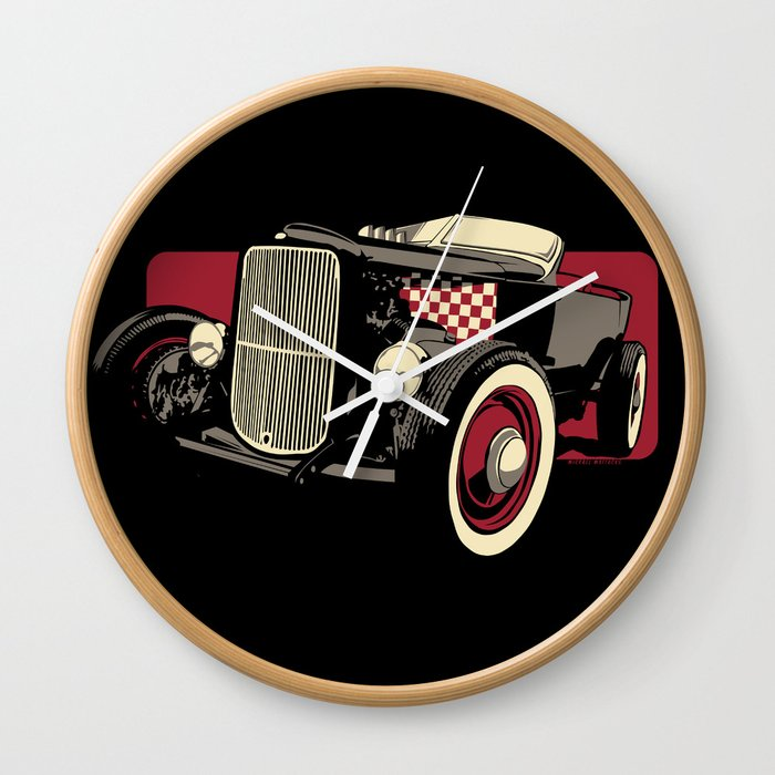 Old School Rat Rod Car Wall Clock By Michaelmattocks Society6