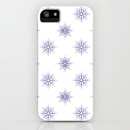 Seamless pattern with blue snowflakes on white background iPhone Case
