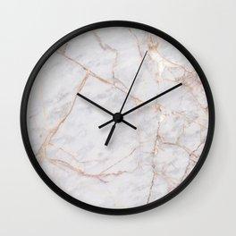 White Italian Marble & Gold Wall Clock