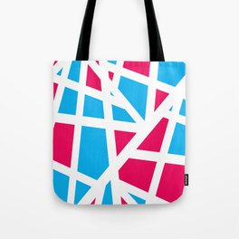 Abstract Interstate  Roadways Aqua Blue & Hot Pink Color Tote Bag