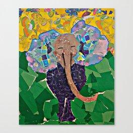 Torn Paper Elephant Canvas Print