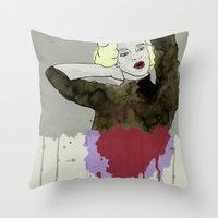 monroe Throw Pillows featuring Monroe by ODDITY