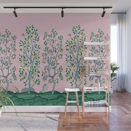 Citrus Grove Chinoiserie Mural in Pink Wall Mural