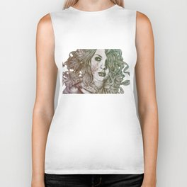 Wake: Autumn (street art woman with maple leaves tattoo) Biker Tank
