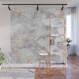 Gray Marble Rosegold  Glitter Pink Metallic Foil Style Wall Mural