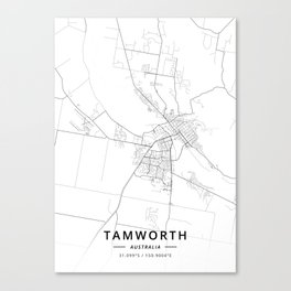 Tamworth, Australia - Light Map Canvas Print