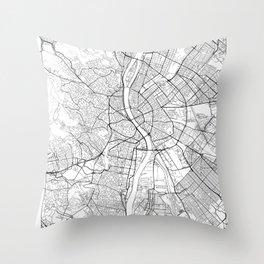 Budapest Map White Throw Pillow