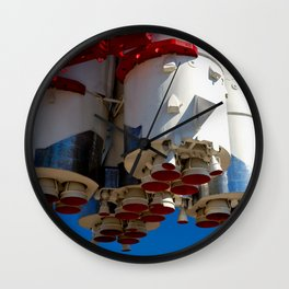 Cluster Of A Vintage Space Rocket Engines Against The Blue Sky Wall Clock