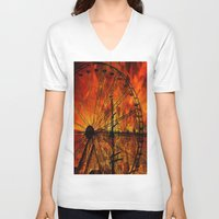 ferris wheel V-neck T-shirts featuring Ferris wheel by  Agostino Lo Coco