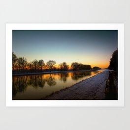 Winter sun early morning waterfront Art Print