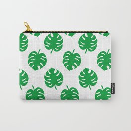 Philodendrons Pattern - Green on White Carry-All Pouch