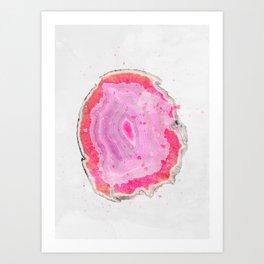 Pink Agate Watercolor Art Print