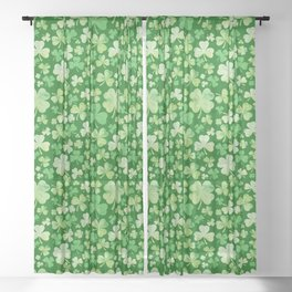 Lucky Green Watercolour Shamrock Pattern Sheer Curtain