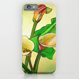 Outlined Calla Lilies Against A Green Ombre Background iPhone Case