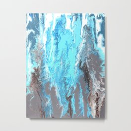 Fluid Acrylic Blue Abstract Painting - When it Rains Metal Print